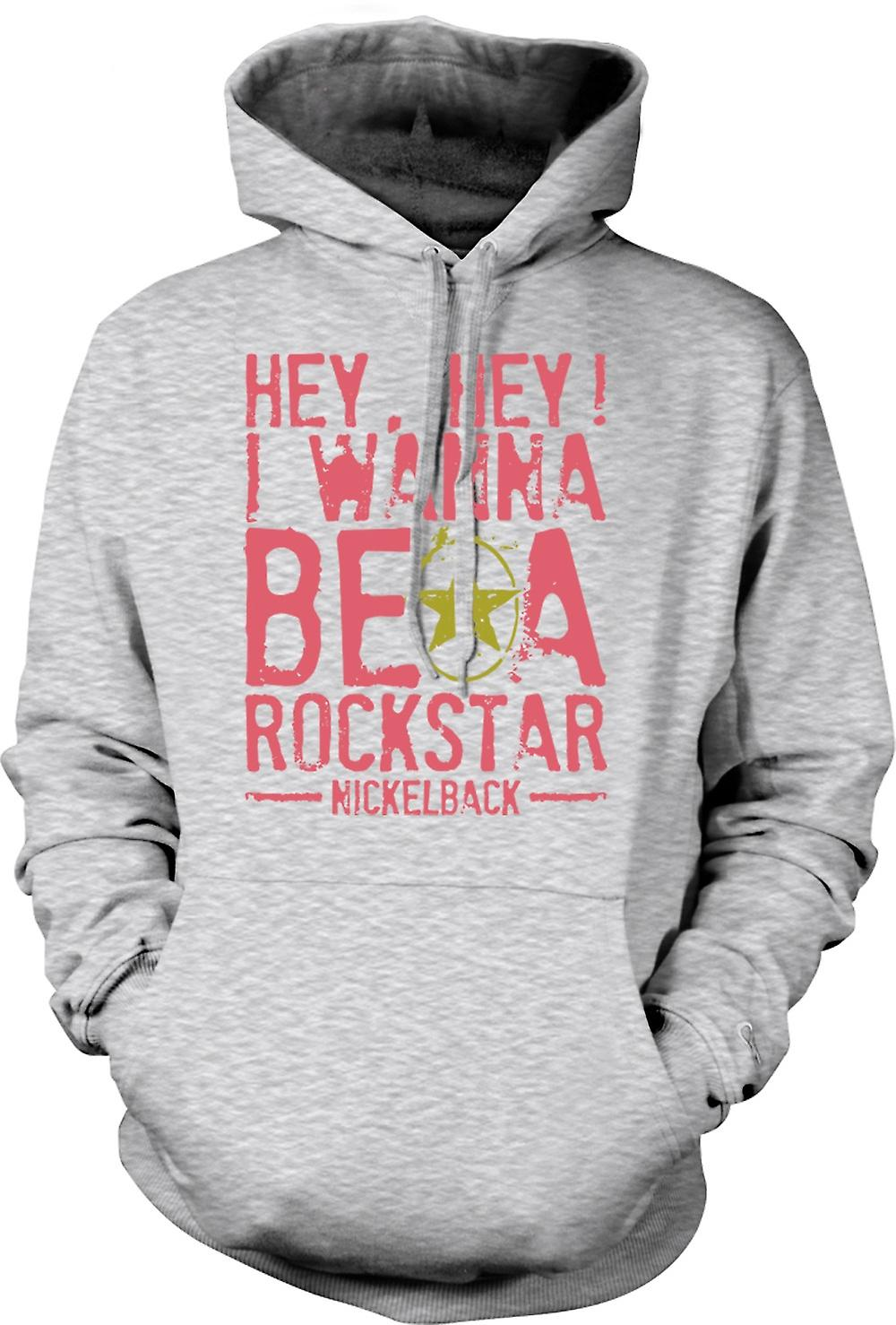 Mens Hoodie - I Wanna Be A Rock Star