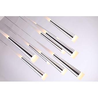 Industrial Hanging Chrome Ceiling Lamp 13 Pendant Rectangular Canopy Light New Bi -Directional  lighting