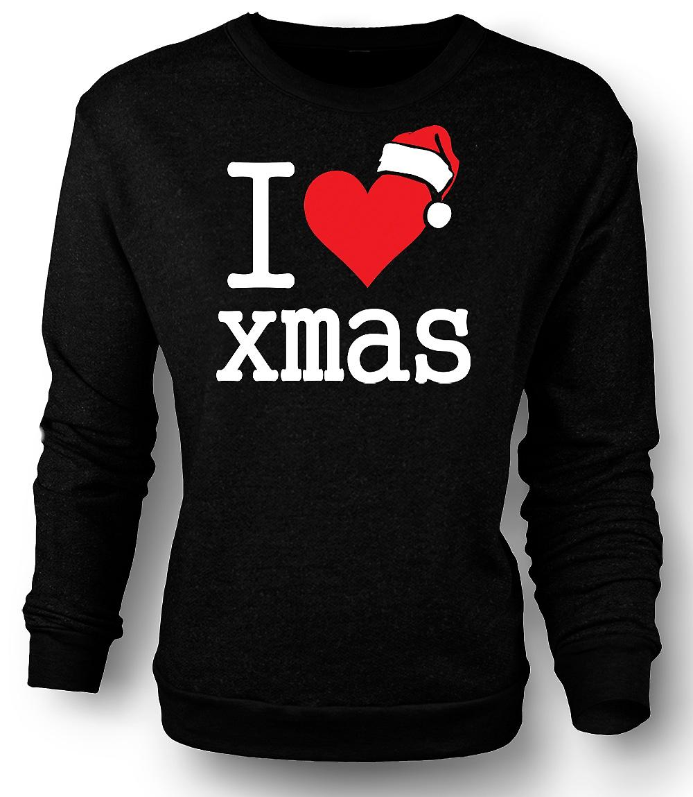Mens Sweatshirt I Love Xmas - Funny Christmas