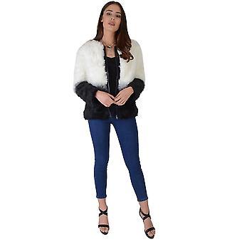 Lovemystyle blanco y negro chaqueta de piel chaqueta de bombardero
