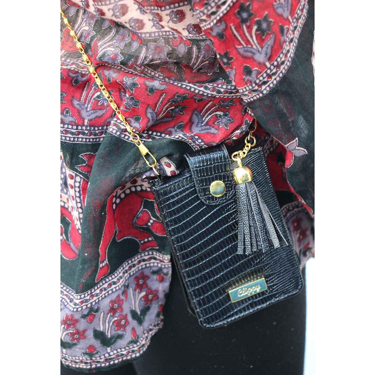 Black Clippy Moc Croc Phone Bag