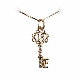 9ct Gold 25x10mm 18 Key Pendant with a curb Chain 16 inches Only Suitable for Children