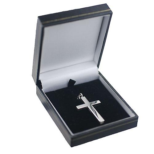 Silver 40x29mm Victoria Hand engraved Solid Block cross