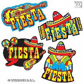 Parti mexicaine 'Fiesta' Décorations Set Of 4 carton découpes (1)