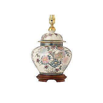 Paradisfåglar Hand målade bordslampa med guld och mahogny - basera endast - interiör 1900 RJ818