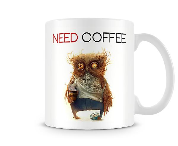 'Need Coffee' Over Worked Owl Mug