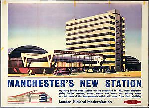 Manchester Piccadilly (old rail ad.) steel fridge magnet    se
