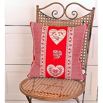 Hossner romantisk pudebetræk Serres country house stil hjerte design rød 40 x 40 cm