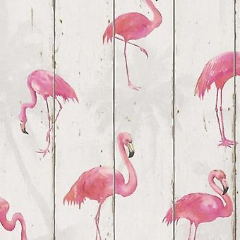 Flamingos Wallpaper Animal Print Textured Vinyl Washable Pink Light Grey Rasch