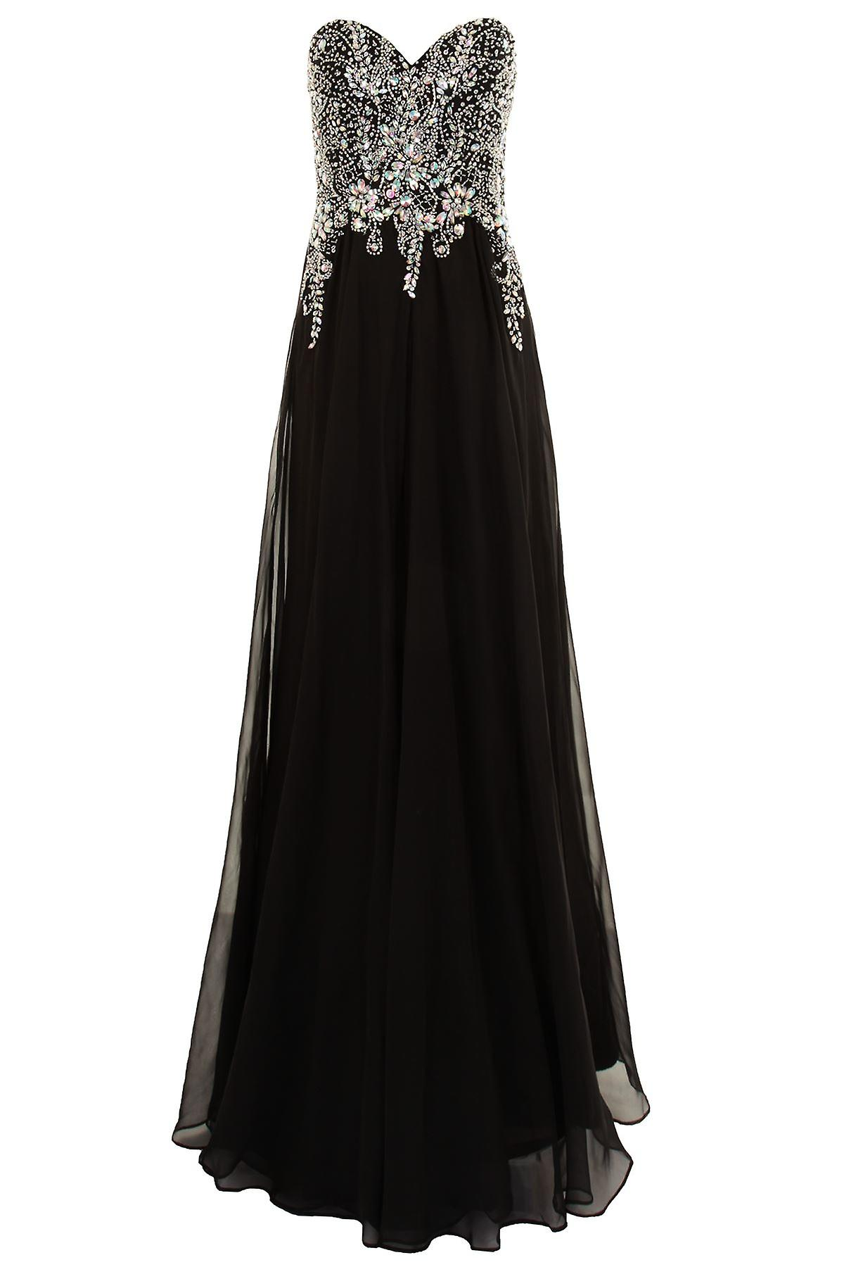 Long Formal Boobtube Jewelled Wedding Evening Party Prom Bridesmaid Dress