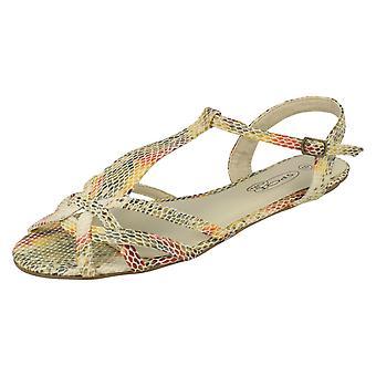Ladies Spot On Snake Print Sandals