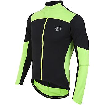 Pearl Izumi Black-Screaming Green Pro Pursuit Wind Long Sleeved Cycling Jersey