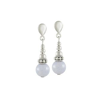 Eternal Collection Bella Blue Lace Agate Silver Tone Drop Clip On Earrings