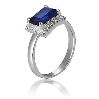 Orphelia Silver 925 Ring Rectangle With Sapphire And Zirconium ZR-7425