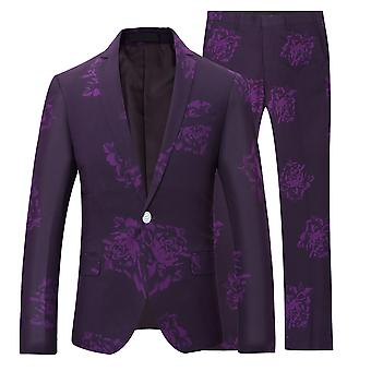 Allthemen Men's Printed Pattern Fashion 2-Pieces Classic Casual&Formal Wild Suits