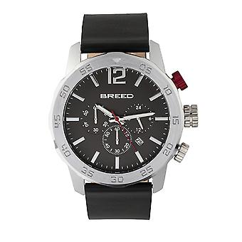 Breed Manuel Chronograph Leather-Band Watch w/Date - Silver/Black
