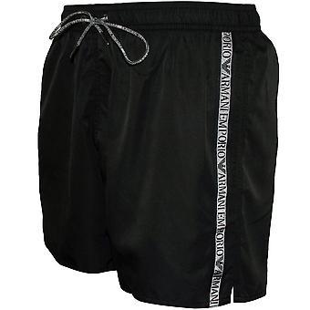 Emporio Armani logo tape svømme shorts, svart