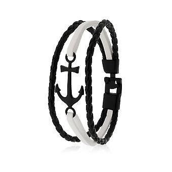 Skipper Armband Lederarmband Armschmuck mit Anker in Schwarz/Weiß 8134