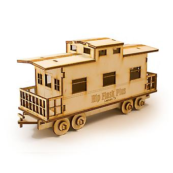 Crafts - caboose - model kit raw wood 9x3x4in