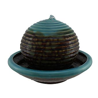 Burnt Stained Blue Porcelain Floating Ball in Bowl Tabletop Fountain