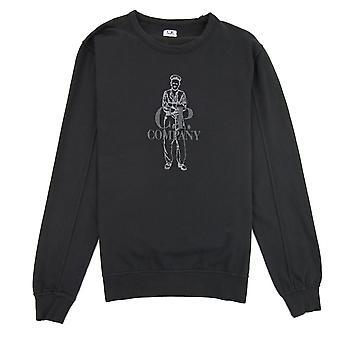 CP Company Lightweight Embroidered Logo Sweatshirt Black 999