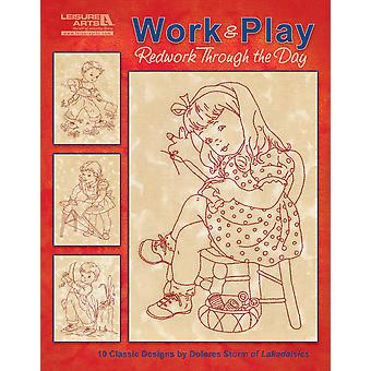 Leisure Arts Work & Play, Redwork Through The Day La 5274