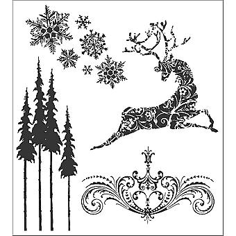 Tim Holtz Cling Rubber Stamp Set Reindeer Flight Cms 052