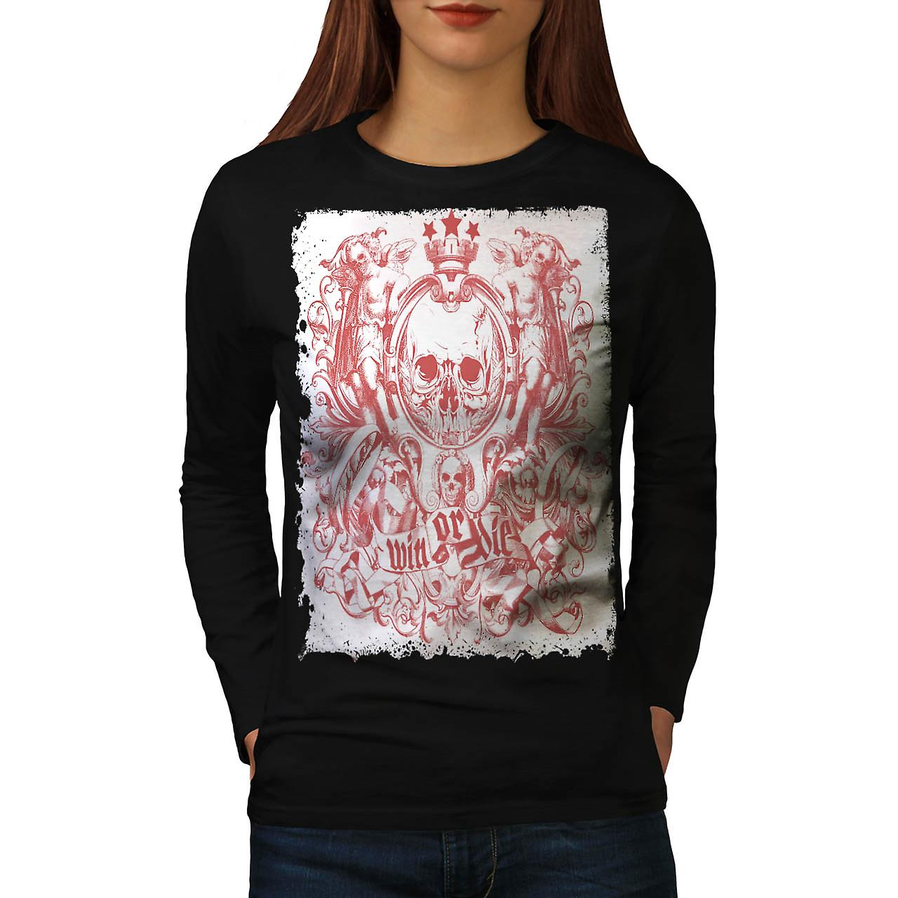 Win Or Die King Skull Women Black Long Sleeve T-shirt | Wellcoda