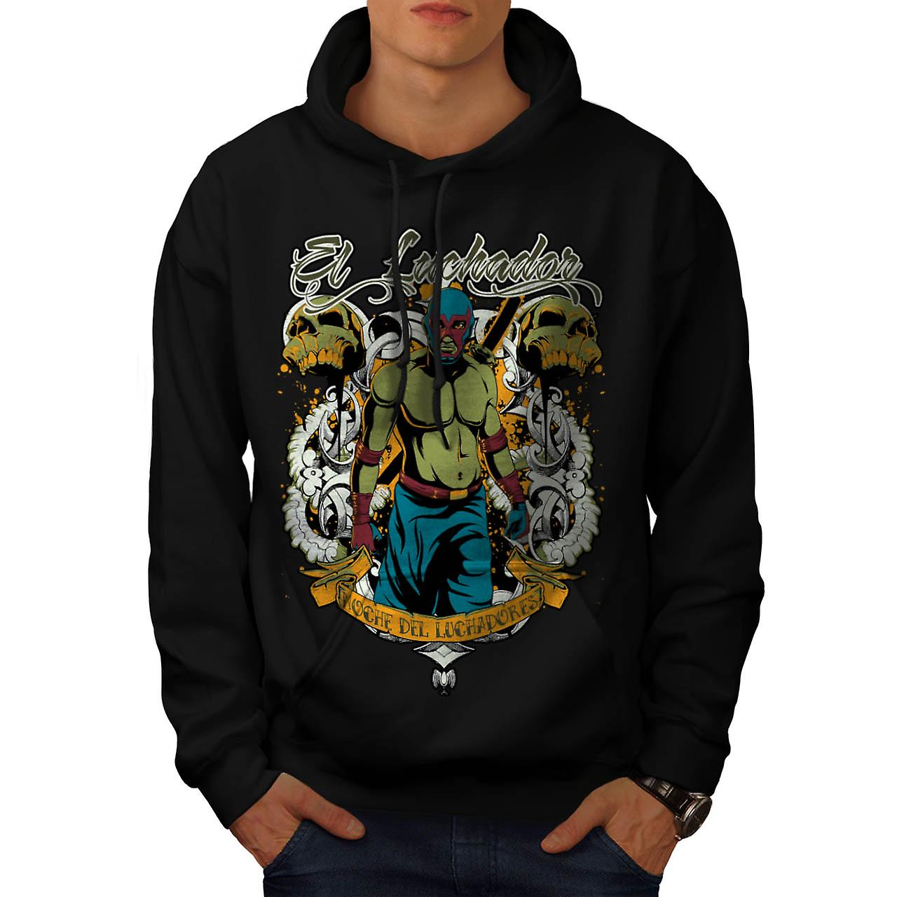 El Luchador Wrestler Mask Champ Men Black Hoodie | Wellcoda