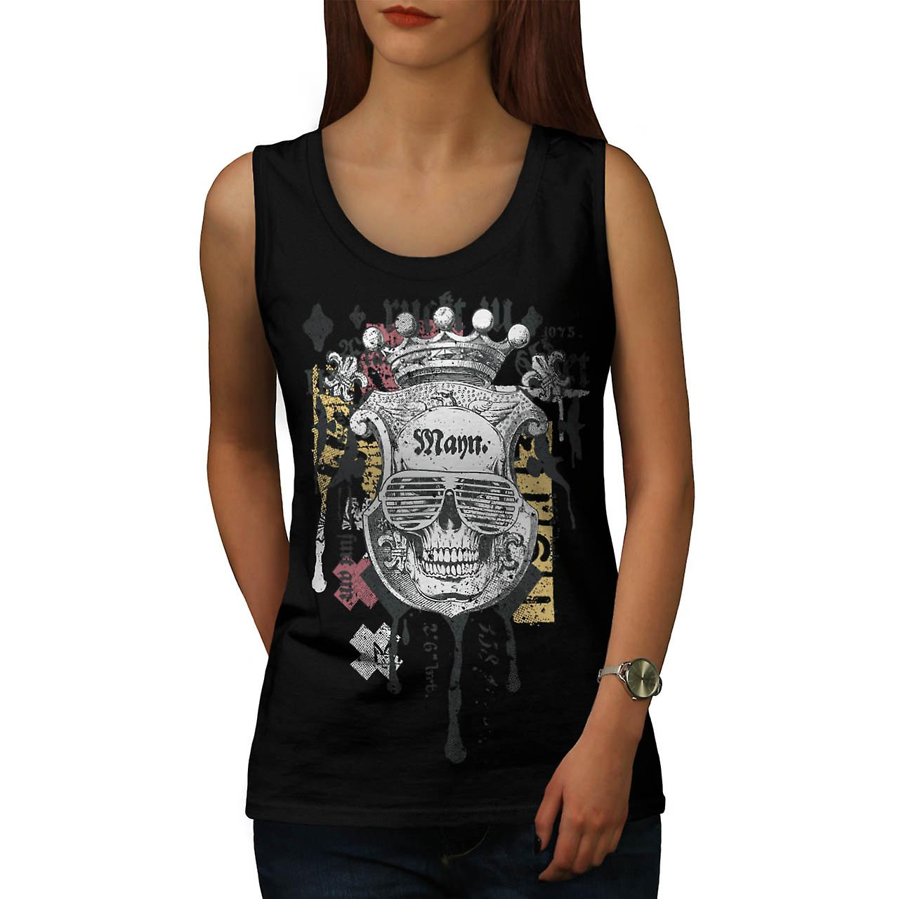 Man Royal Skull Team Swag Head Women Black Tank Top | Wellcoda