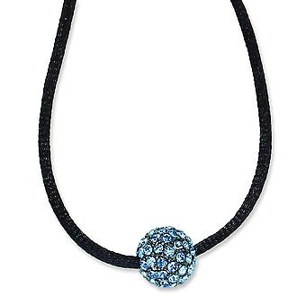 Black-plated Blue Crystal Fireball 16 Inch With ext Satin Cord Necklace