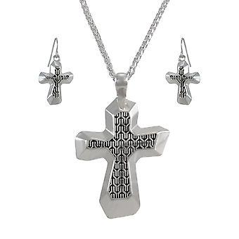 Silvertone Kreuz Halskette und baumeln Ohrringe Set