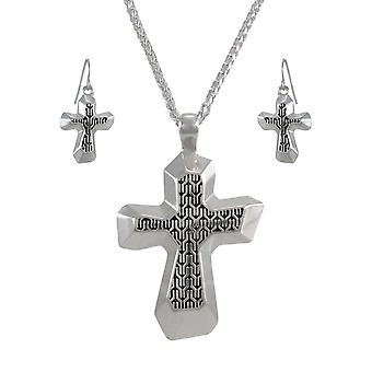 Silvertone Cross Necklace and Dangle Earrings Set