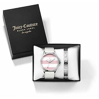 Juicy Couture mujer Fergi blanco pulsera de plata y regalo Set reloj 1950009