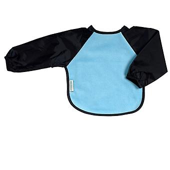 Silly Billyz Large Long Sleeve Fleece Baby Feeding Bib in Sky Blue/Navy 1-3 Years