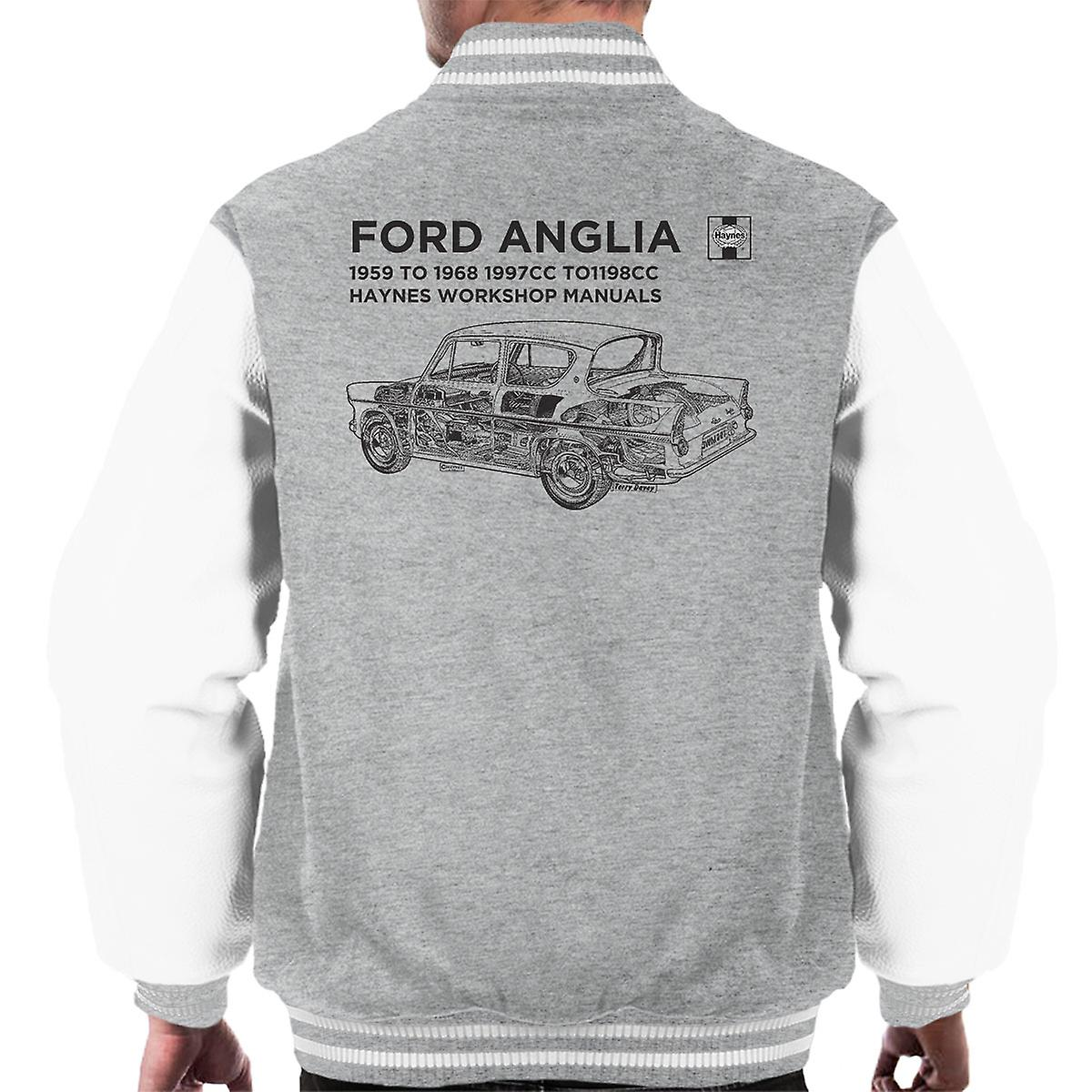 Haynes Workshop Manual 0001 Ford Anglia Black mannen Varsity Jacket