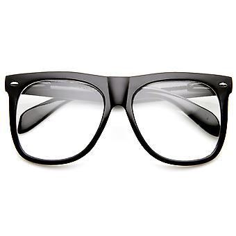Large Bold Oversized Modified Clear Lens Horn Rimmed Sunglasses