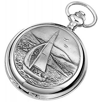 Woodford Sailing Chrome Plated Double Full Hunter Skeleton Pocket Watch - Silver