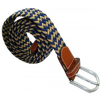 Bassin and Brown Striped Elasticated Woven Belt - Beige/Navy