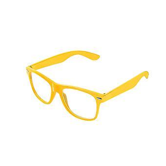 Retro Vintage kleur Unisex Punk Geek Wayfare stijl nul nummer duidelijk Lens glazen Eyewear - geel
