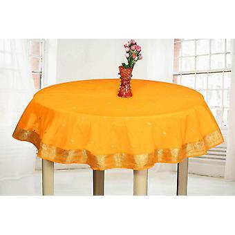 Orange - handgemachte Sari Tischdecke (Indien) - Runde