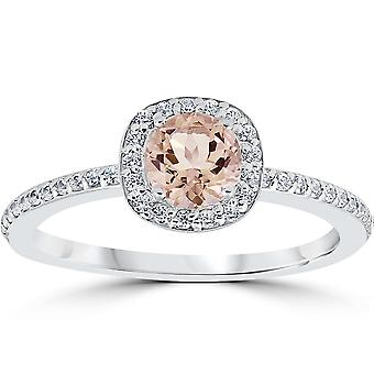 7 / 8ct runde Morganite & Diamond pude Halo Engagement Ring 14K hvidguld