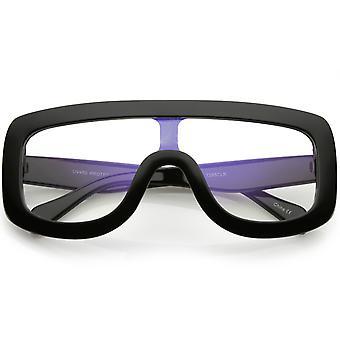 Oversize klar kühne Flat Top Rechteck Eyeglasse Wide Arme Objektiv 65mm