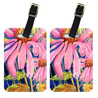 Carolines Treasures  6027BT Pair of 2 Flowers - Coneflower Luggage Tags