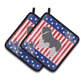 USA Patriotic Polish Lowland Sheepdog Dog Pair of Pot Holders