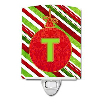 Christmas Oranment Holiday Initial Letter T Ceramic Night Light