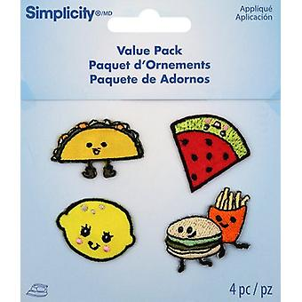 Wrights Iron-On Appliques 4/Pkg-Assorted Food 193 1340