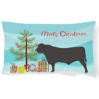 Black Angus vaca Natal lona tecido travesseiro decorativo