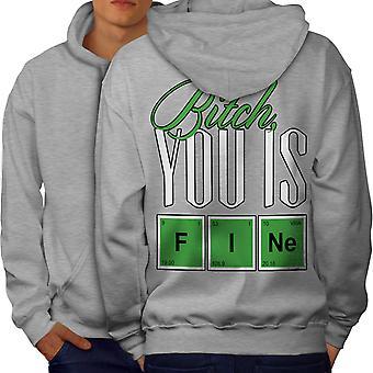 Fine Chemistry Geek Men GreyHoodie Back | Wellcoda