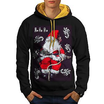 Santa Cute Toy Men Black (Gold Hood)Contrast Hoodie | Wellcoda